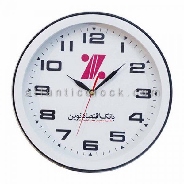 ساعت دیواری تبلیغاتی بانک اقتصاد نوین سایز 31 گرد