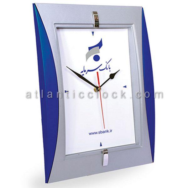 ساعت دیواری تبلیغاتی بانک سرمایه ابعاد 34 مستطیل