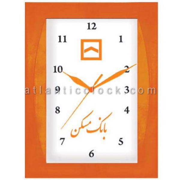 ساعت دیواری تبلیغاتی بانک مسکن ابعاد 34 مستطیل