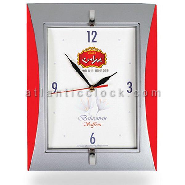 ساعت دیواری تبلیغاتی زعفران بهرامن ابعاد 34 مستطیل