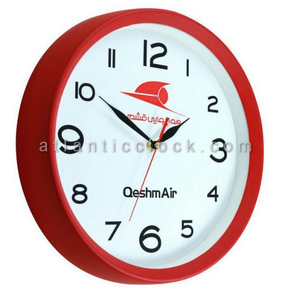 ساعت دیواری تبلیغاتی شرکت هواپیمایی قشم سایز 31 گرد