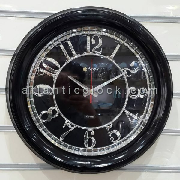 ساعت دیواری گرد سیاه مدل اپل سایز 50
